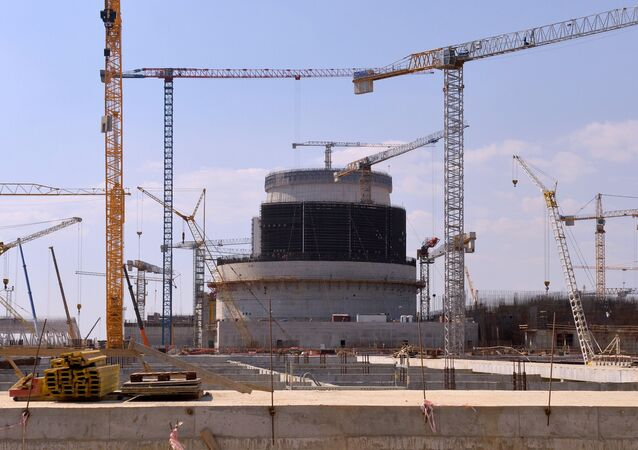 Construction of a reactor unit of the first Belarusian nuclear power plant (NPP) in the Grodno Region.