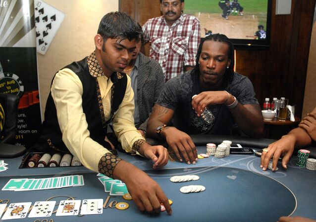 West Indies cricketer Chris Gayle plays poker on a floating casino in Panaji, Goa. (File)