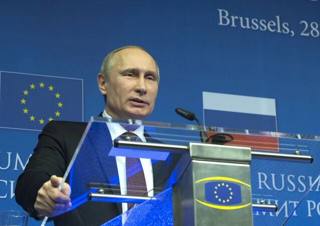 Russian President Vladimir Putin pictured during the joint news conference following the Russia-EU summit in Brussels. (File)
