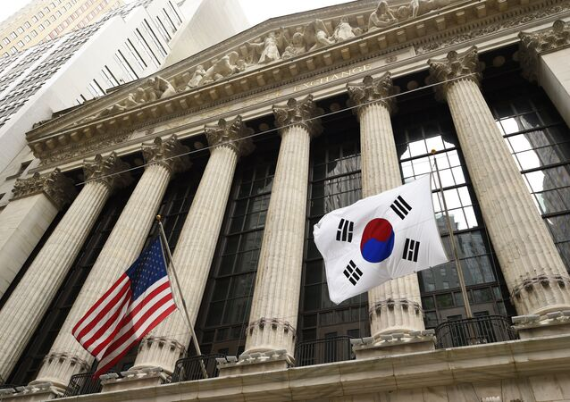 The South Korean flag (R) with a US flag. (File)