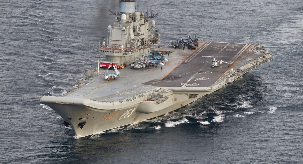 Russian aircraft carrier Admiral Kuznetsov in international waters off the coast of Northern Norway on October 17, 2016.