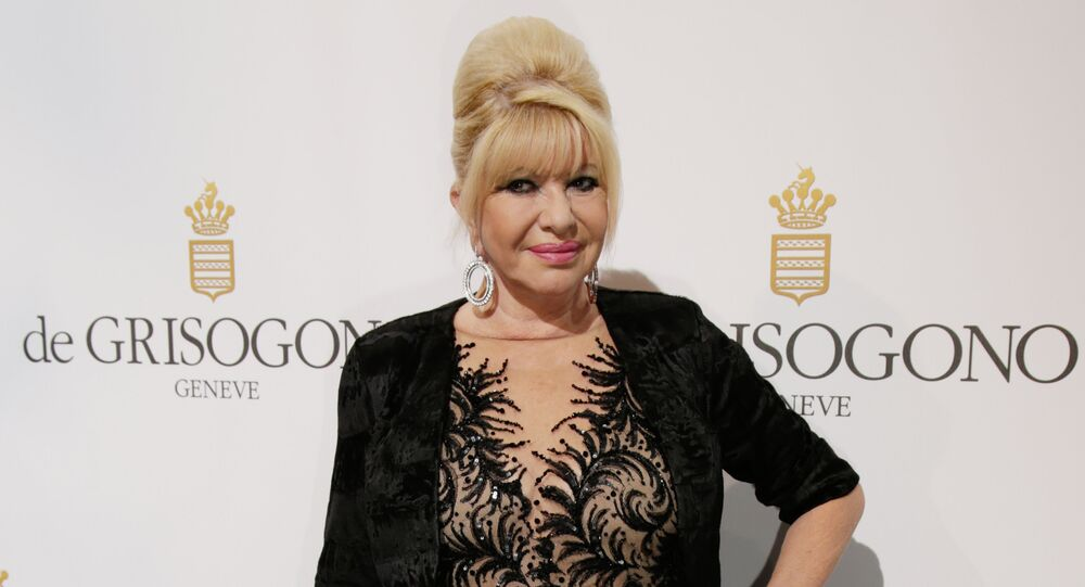 Czechoslovakian businesswoman Ivana Trump attends the De Grisogono Party on the sidelines of the 69th annual Cannes Film Festival, at the Eden Roc hotel in Antibes, near Cannes, southeastern France