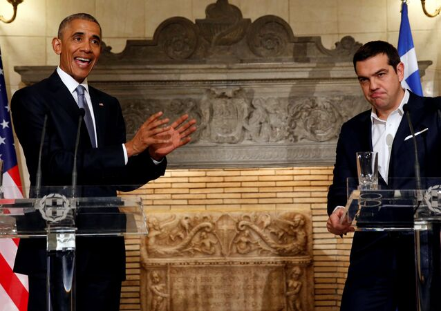 US President Barack Obama and Greek Prime Minister Alexis Tsipras hold a press conference at Maximos Palace in Athens, Greece November 15, 2016.