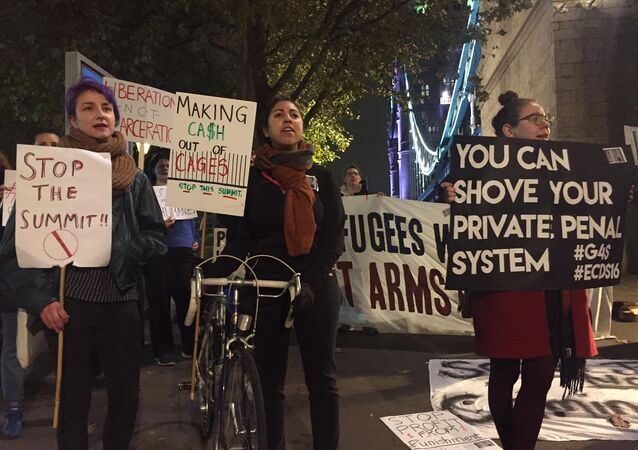 Protest against UK security industry summit, London
