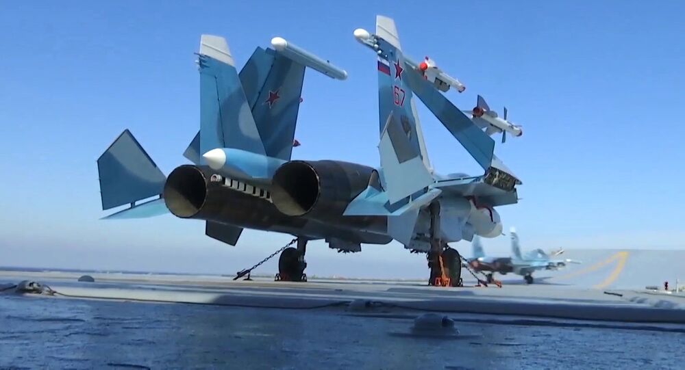 Carrier-based Sukhoi Su-33 jet fighters