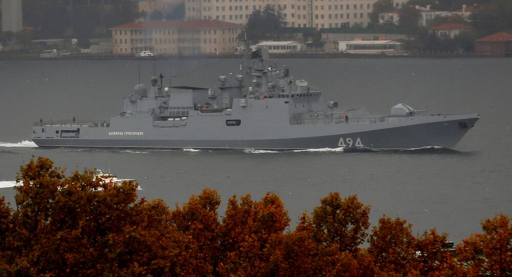 The Russian Navy's frigate Admiral Grigorovich sails in the Bosphorus on its way to the Mediterranean Sea, in Istanbul, Turkey, November 4, 2016