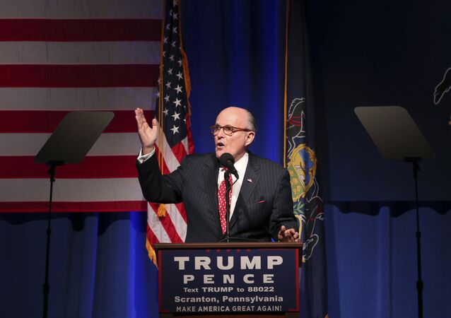 Former New York City Mayor Rudy Giuliani addresses a gathering at a campaign rally for Republican presidential candidate Donald Trump Monday, Nov. 7, 2016, in Scranton, Pa