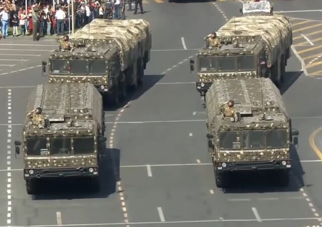 Iskander missile systems at a military parade in Yerevan