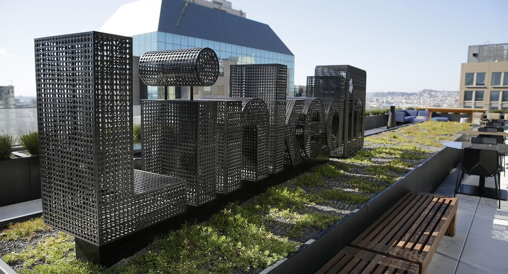 A sculpture is seen on a terrace outside the offices of LinkedIn Thursday, Sept. 22, 2016, in San Francisco