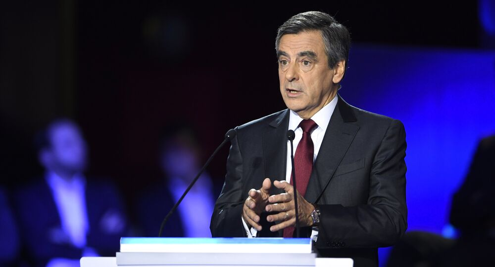 Former French prime minister and candidate for the right-wing Les Republicains (LR) party primaries ahead of the 2017 presidential election, Francois Fillon speaks during the second debate of the right-wing Les Republicains (LR) party primaries on November 3, 2016 at the salle Wagram venue in Paris.