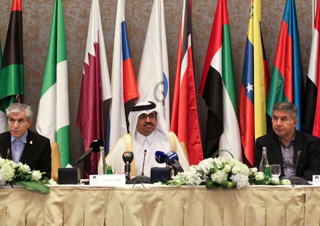 Secretary General of the Gas Exporting Countries Forum (GECF) Seyed Mohammad Hossein Adeli of Iran (L) and Qatar's Energy Minister Mohammed bin Saleh al-Sada (C) attend the 18th Ministerial Meeting of GECF in Doha, Qatar November 17, 2016