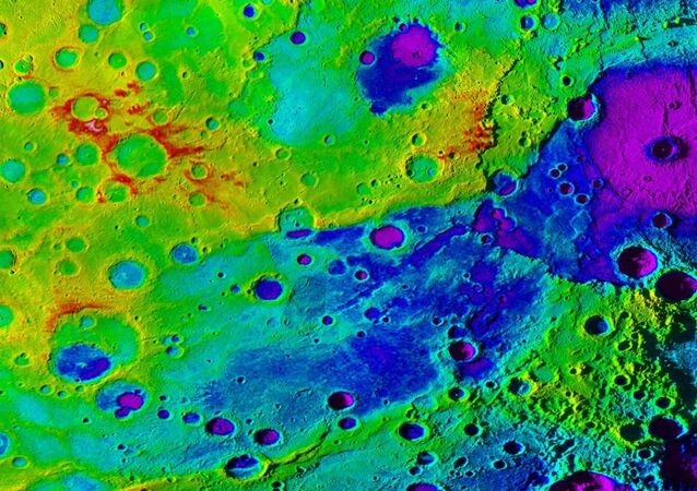 Using colorized topography, Mercury's great valley (dark blue) and Rembrandt impact basin (purple, upper right) are revealed in this high-resolution digital elevation model merged with an image mosaic obtained by NASA's MESSENGER spacecraft.
