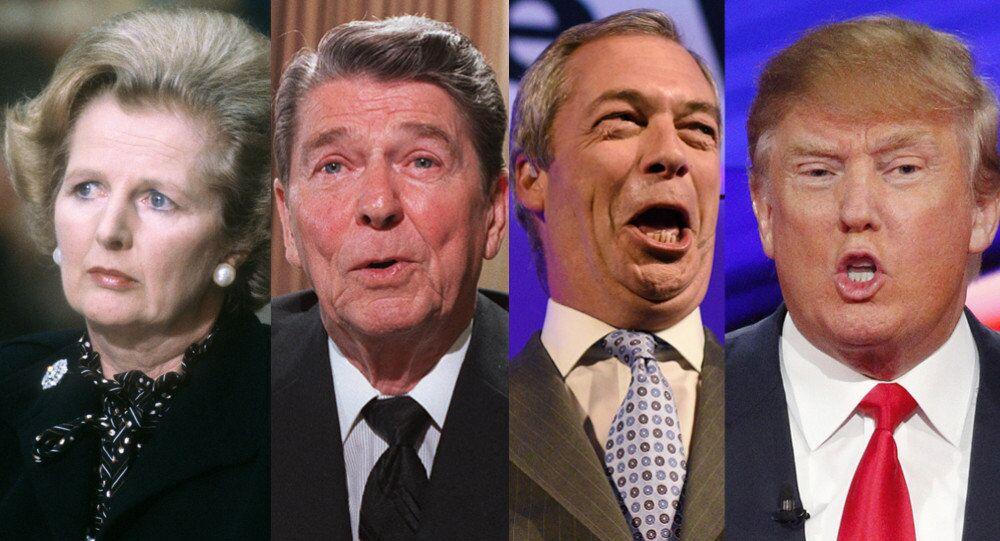 Margaret Thatcher, Ronald Reagan, Nigel Farage, Donald Trump