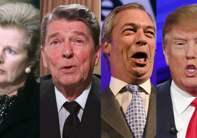 Margaret Thatcher, Ronald Reagan, Nigel Farage, Donald Trump