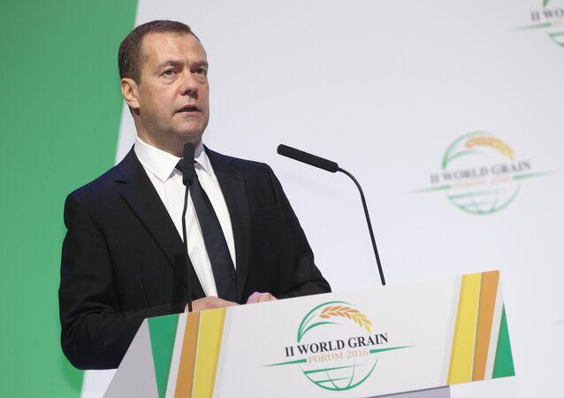 November 18, 2016. Russian Prime Minister Dmitry Medvedev speaks at the 2nd World Grain Forum in Sochi