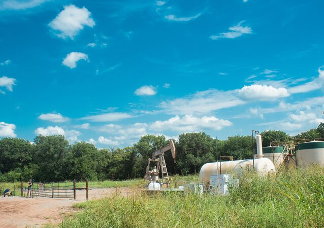 An oil pump jack operating in Oklahoma where recent earthquakes have put the spotlight on the inudstry and its controversial methods of #fracking.