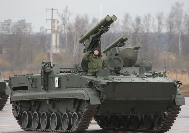 A Khrizantema-S supersonic anti-tank missile during the first large-scale rehearsal of the Victory Day Parade in Alabino, Moscow Region