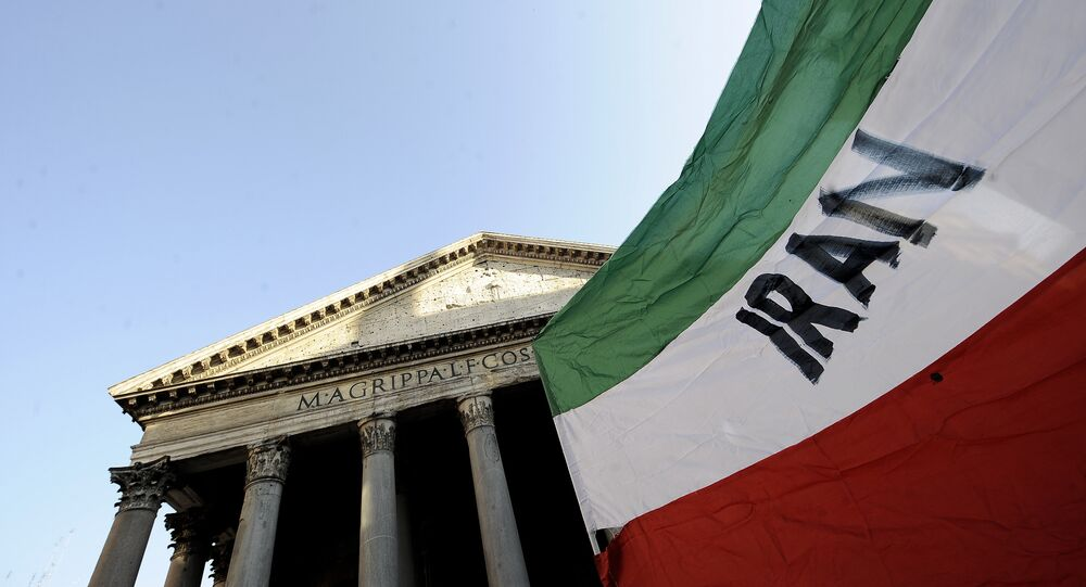An iranian flag is held up by the Pantheon in downtown Rome