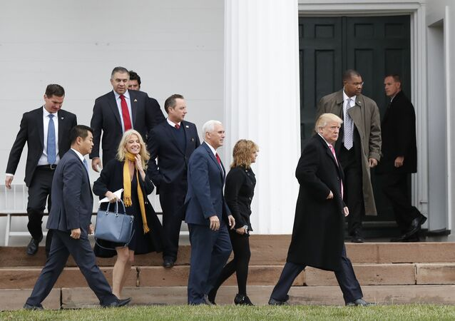 President-elect Donald Trump, foreground from right, Charlotte Pence, Vice President-elect Mike Pence, incoming White House Chief of Staff Reince Priebus and Kellyanne Conway leave services at Lamington Presbyterian Church in Bedminster, N.J., Sunday, Nov. 20, 2016.