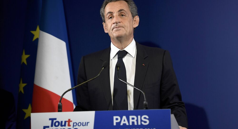 Nicolas Sarkozy, former French president and candidate for the French conservative presidential primary, reacts after partial results in the first round of the French center-right presidential primary election at his campaign headquarters in Paris, France, November 20, 2016.
