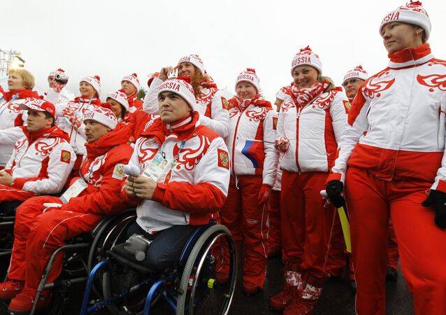 Russian Paralympic team during the flag raising ceremony in the Paralympic Village in Whistler. (File)