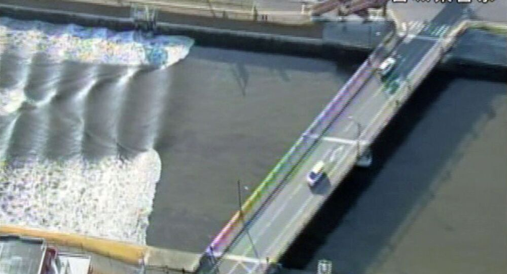 A tidal surge is seen in Sunaoshi River after tsunami advisories were issued following an earthquake in Tagajo, Miyagi prefecture, Japan November 22, 2016, in this video grab image released by Miyagi Prefectural Police via Kyodo.