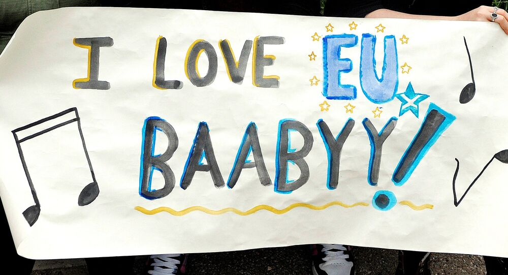 Demonstrators hold a placard saying I Love EU Baabyy! at a demonstration by Pro EU campaigners outside the Scottish Parliament ahead of a debate on the EU Referendum result and the implications for Scotland, in Edinburgh, Scotland on June 28, 2016.
