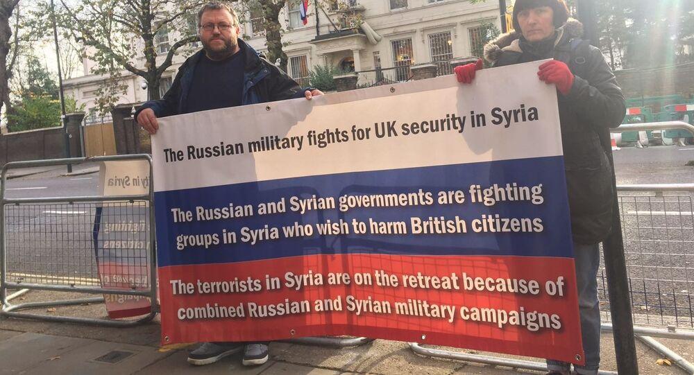 Demonstrators outside the Russian embassy in London