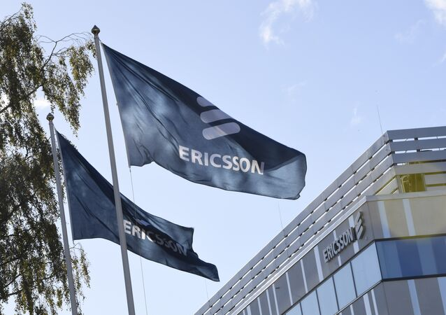 Flags with the logo of telecoms equipment maker Ericsson outside company's headquarters in Stockholm on October 4, 2016