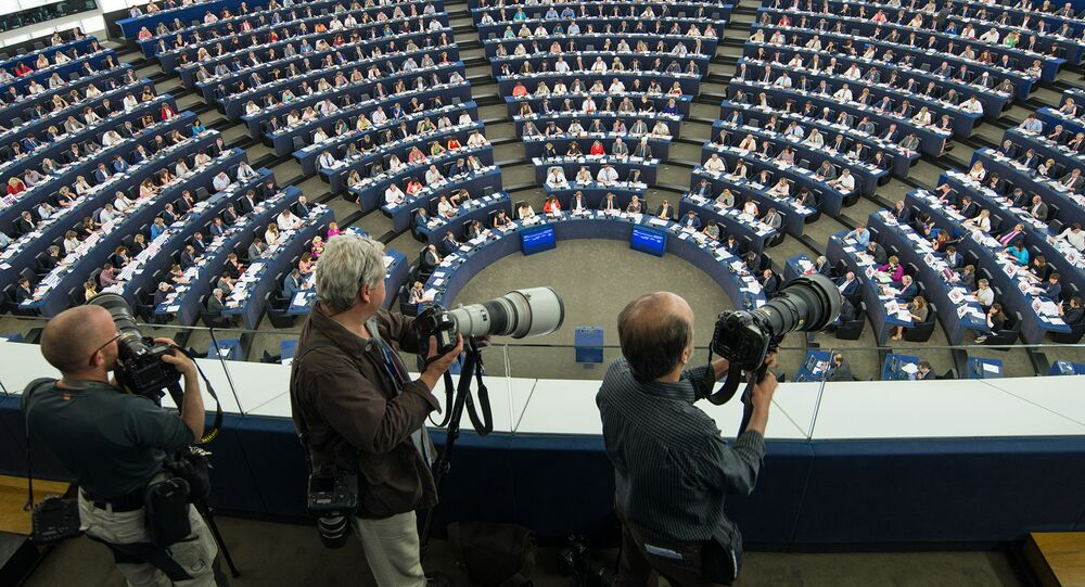 Journalists in the Plenary chamber of the European Parliament (File)