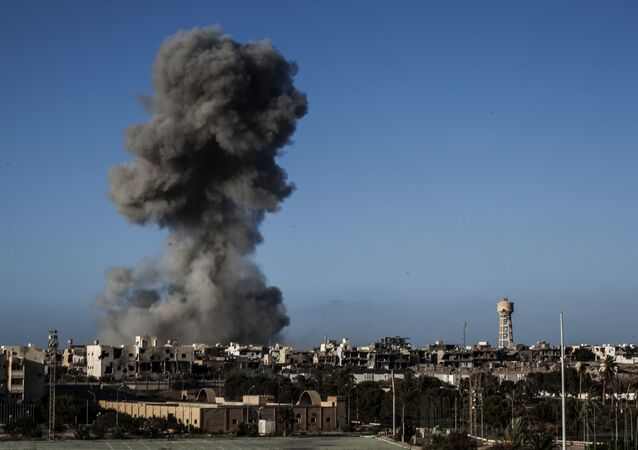Smokes rises after an airstrike on Daesh militants held area in Sirte, Libya (File)