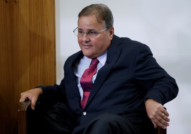 Brazilian minister Geddel Vieira Lima gestures during a meeting with deputies and government leaders of the Chamber of Deputies, in his office at the Planalto Palace in Brasilia, Brazil, November 22, 2016