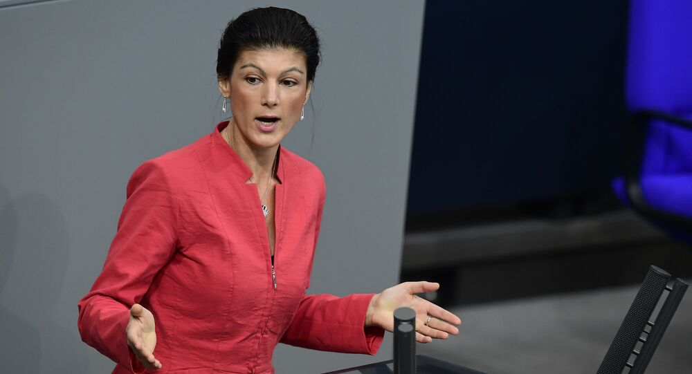 Sahra Wagenknecht of the Left party (Die Linke) delivers a speech at the Bundestag (lower house of parliament) in Berlin on November 23, 2016