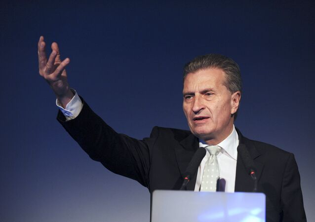 European Commissioner for Digital Economy and Society Gunther Oettinger addresses the opening of French employers' association Medef's Universite du Numerique at the Medef headquarters in Paris on June 10, 2015.