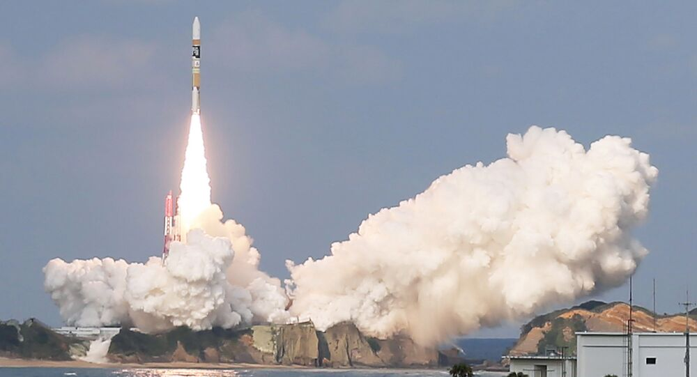 Japan's H-2A rocket, carrying a Himawari-9 weather satellite, is launched at the Tanegashima Space Center in Tanegashima Island in Kagoshima Prefecture on November 2, 2016