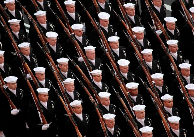 Sailors with the U.S. Navy Ceremonial Guard march in formation during the 57th Presidential Inaugural Parade in Washington, D.C., Jan. 21, 2013