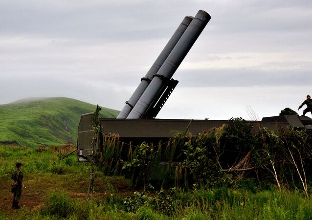 A Bastion coastal defense missile system during a drill in Primorsky Territory in the Russian Far East.