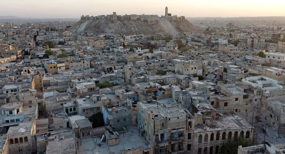 A general view taken with a drone shows Aleppo's historic citadel, controlled by forces loyal to Syria's President Bashar al-Assad, as seen from a rebel-held area of Aleppo, Syria, October 12, 2016