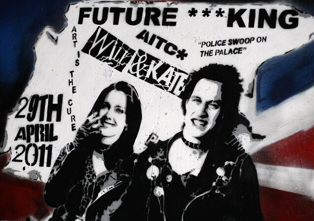 A newly unveiled graffiti portrait of Prince William and Kate Middleton by street artist Rich Simmons, in London, Friday, Feb. 11, 2011. It is probably not quite the wedding portrait Prince William and Kate Middleton had in mind. The soon-to-be-married couple have been made over as punk 'royalty' by an artist who has transformed them into the King and Queen of rockers, Sid Vicious and Nancy Spungen, and it was a Prince's Trust grant that helped artist Rich Simmons hone his skills which led to the punky version of the pair.