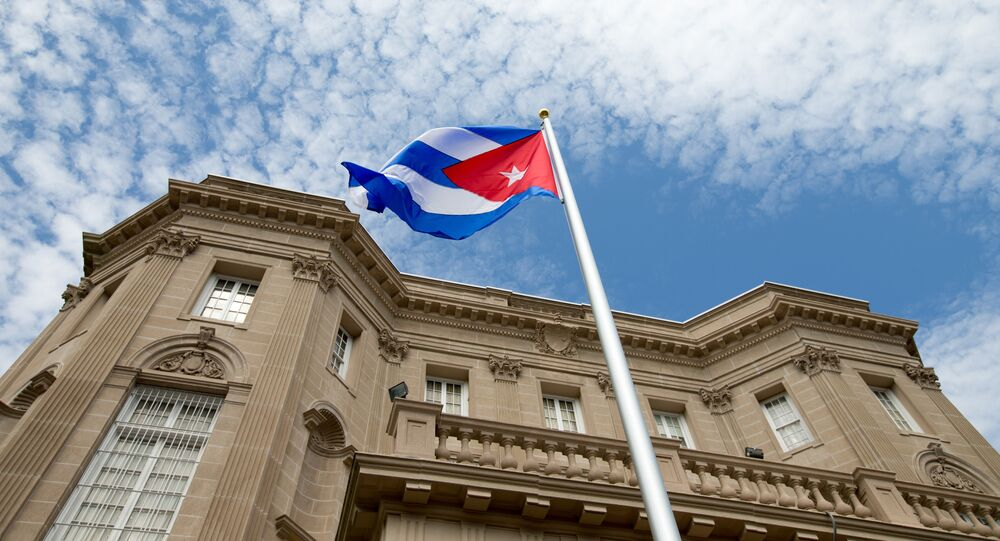 The Cuban flag is raised over their new embassy in Washington, DC (File)