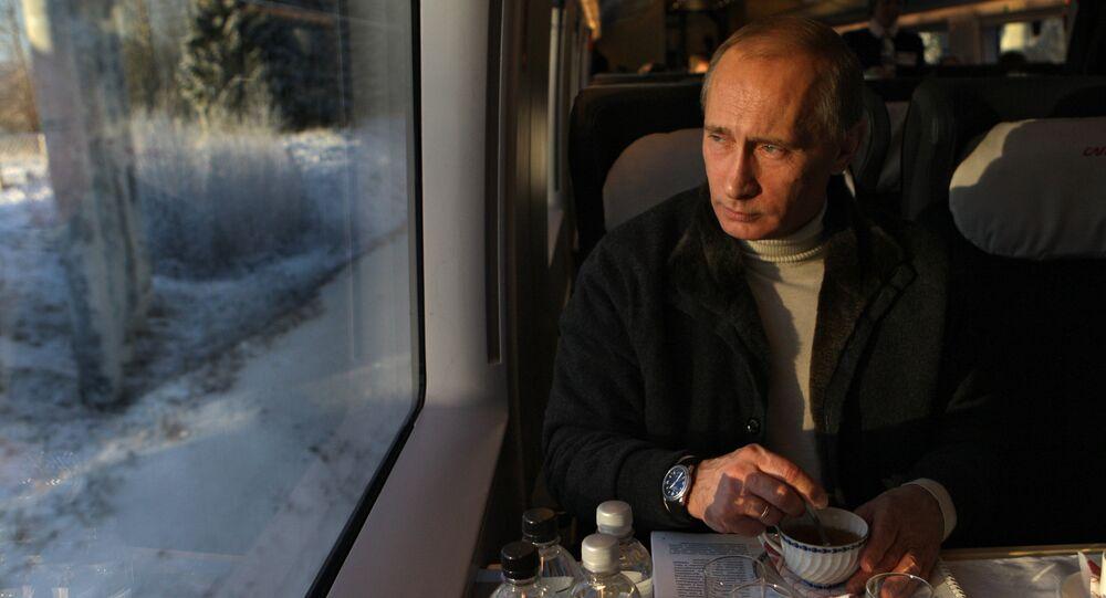 Vladimir Putin takes trip on newly launched Sapsan high-speed train