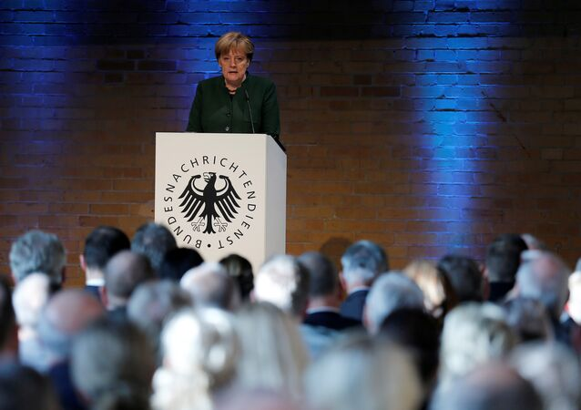 German Chancellor Angela Merkel gives a speech at the 60th anniversary of the founding of the German Intelligence Services (BND) in Berlin, Germany