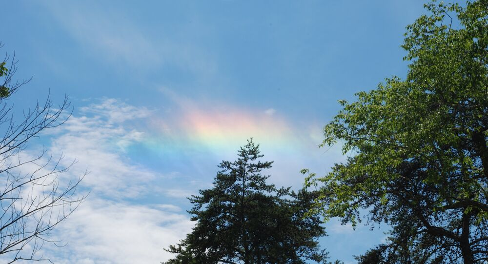 A circumhorizontal arc photographed in Hocking Hills, Ohio