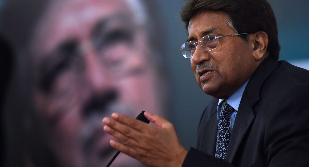 Former Pakistani president and military ruler, Pervez Musharraf addresses a youth parliament in Karachi. (File)