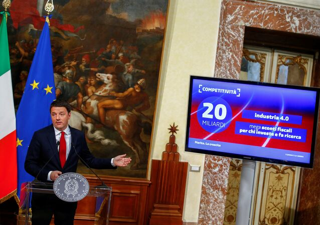 Italy's Prime Minister Matteo Renzi speaks during a news conference at the Chigi Palace in Rome