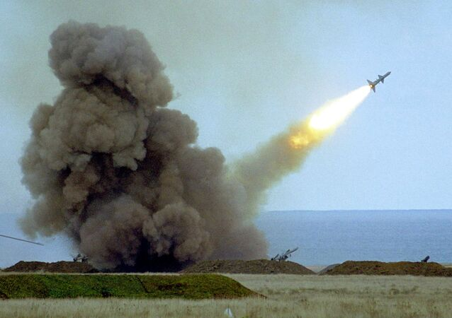 An anti-aircraft defense missile C-75  launched by Ukrainian army