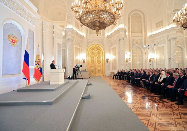 December 1, 2016. Russian President Vladimir Putin delivers his Annual Presidential Address to the Federal Assembly at the Kremlin's St. George Hall.