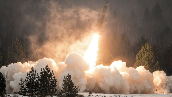 An exhibition missile launch from the Tochka-U tactical complex. (File) - Sputnik International