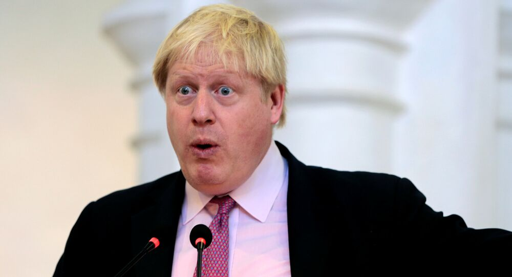Britain's Foreign Secretary Boris Johnson delivers a speech in the main hall of the Government College University in Lahore, Pakistan November 25, 2016.