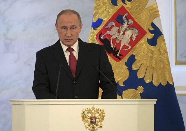 Russian President Vladimir Putin delivers a speech during his annual state of the nation address at the Kremlin in Moscow, Russia, December 1, 2016